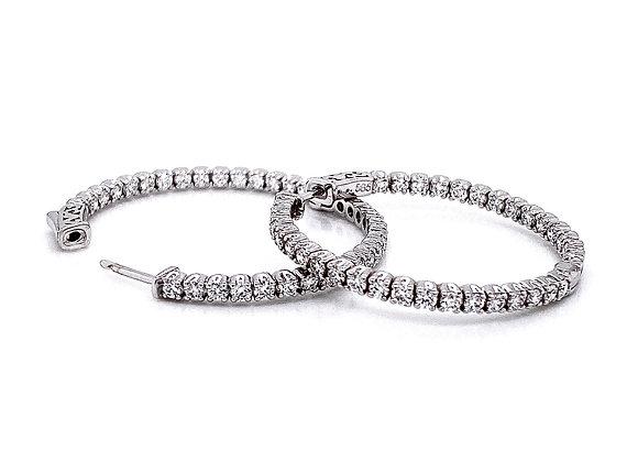 14kt White Gold 2.19ctw Round Diamond Hoop Earrings