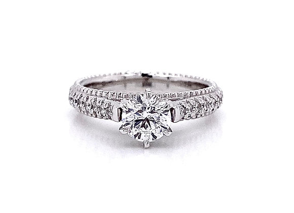 14kt White Gold 0.96ctw Round Diamond Side Stone Ring