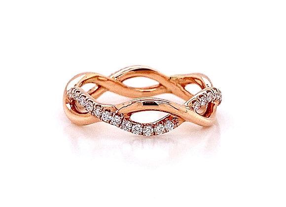 14kt Rose Gold 0.36ctw Round Diamond Swirl Band