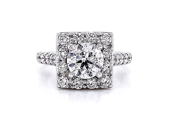 14kt White Gold 2.10ctw Round Diamond Halo Ring