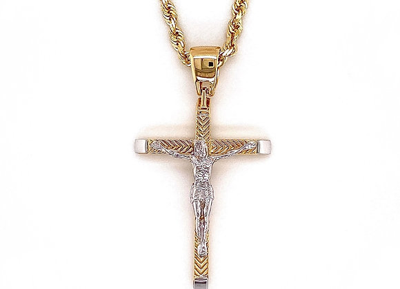 14kt Two-Tone Cross Pendant