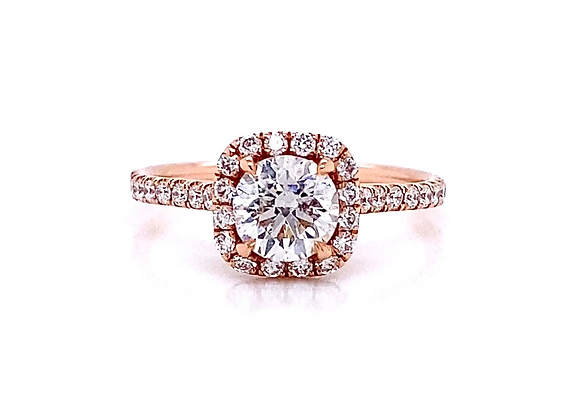 14kt Rose Gold 1.09ctw Round Diamond Halo Ring
