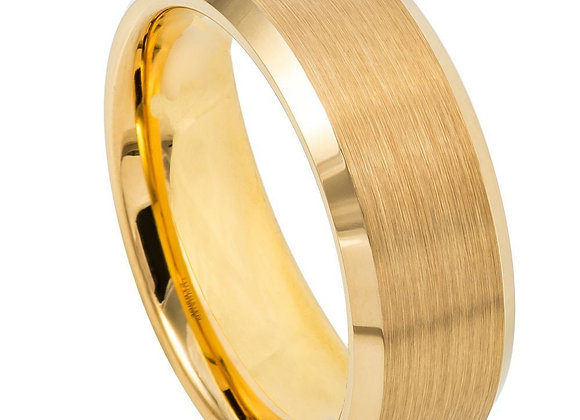 Gold Tungsten Gents Band With Brushed Accents