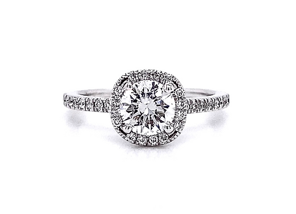 14kt White Gold 1.00ctw Round Diamond Halo Ring