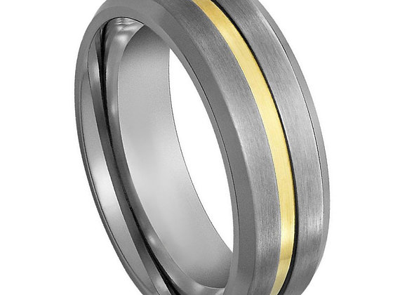 Gray Tungsten Gents Band With Yellow Gold Accents