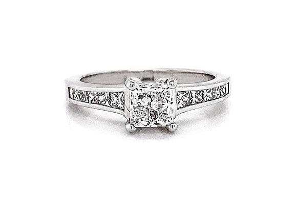 14kt White Gold 1.31ctw Princess Cut Diamond Side Stone Ring