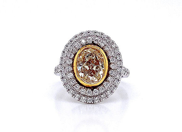 18kt Two-Tone Gold 2.81ctw Fancy Yellow Oval and Round Diamond Halo Ring
