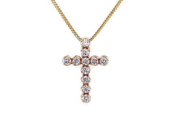 14kt Yellow Gold Ladies Round Diamond Cross Pendant