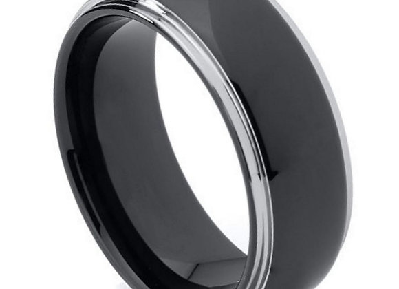 Black & Gray Tungsten High Polished Gents Band
