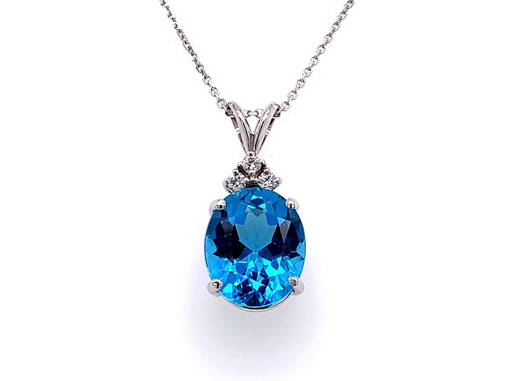 14kt White Gold Ladies 5.56ct Oval Blue Topaz and Diamond Pendant