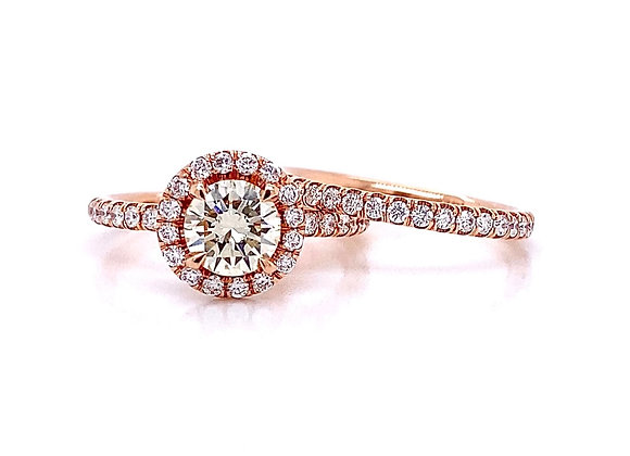 14kt Rose Gold 1.51ctw Round Diamond Halo Wedding Set