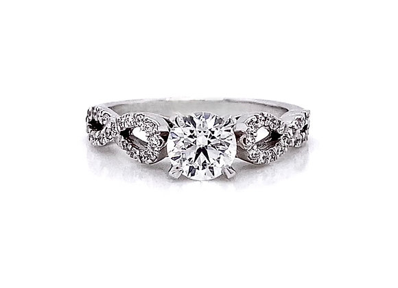 14kt White Gold 0.89ctw Round Diamond Side Stone Ring