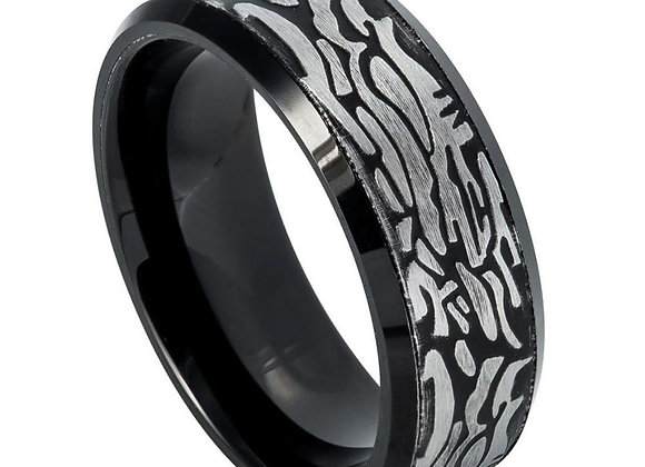 Black & Gray Tungsten Rock Art Gents Band
