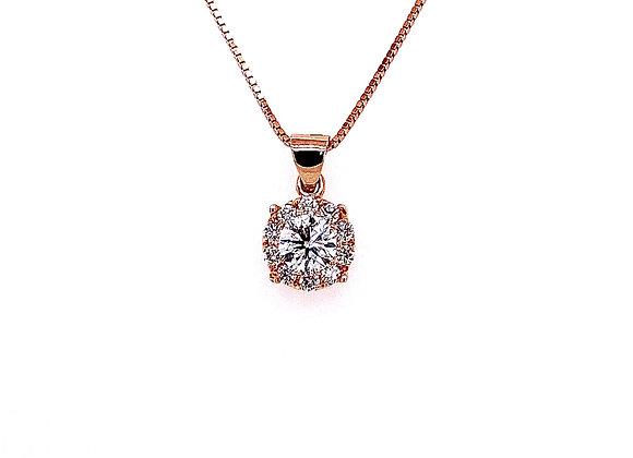 14kt Rose Gold 0.72ctw Round Diamond Halo Pendant