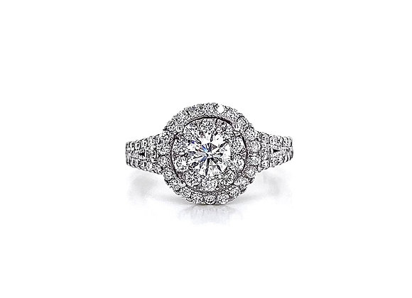 14kt White Gold 1.29ctw Round Diamond Double Halo Ring
