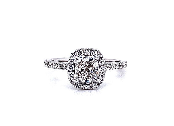 14kt White Gold 0.83ct Cushion Cut Diamond Halo Ring