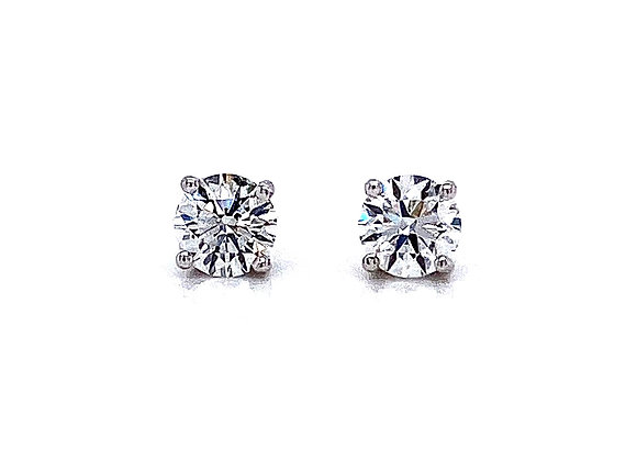 14kt White Gold Ladies 0.85ctw Round Diamond Stud Earrings