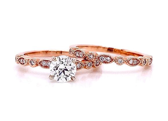14kt Rose Gold 0.97ctw Round Diamond Wedding Set