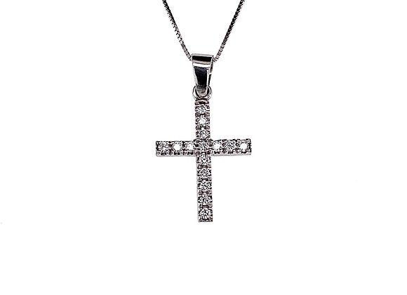 14kt White Gold Ladies 0.19ctw Diamond Cross Pendant