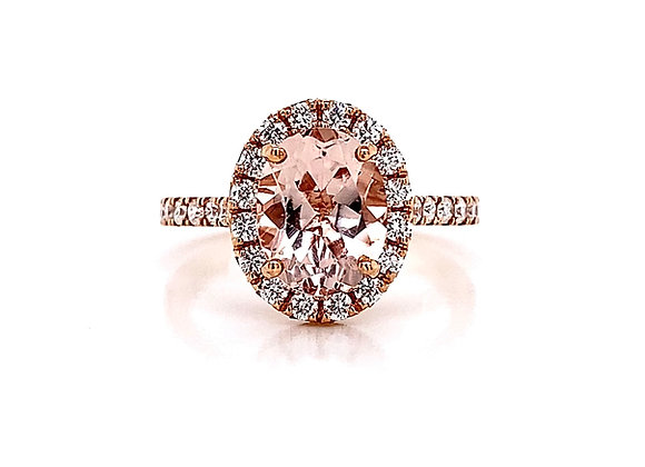 14kt Rose Gold 1.52ctw Morganite Gemstone and Diamond Halo Ring