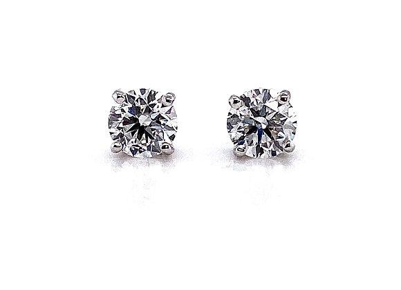 14kt White Gold Ladies 1.11ctw Round Diamond Stud Earrings