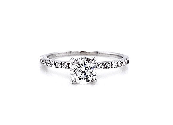 14kt White Gold 1.00ctw Round Diamond Side Stone Ring