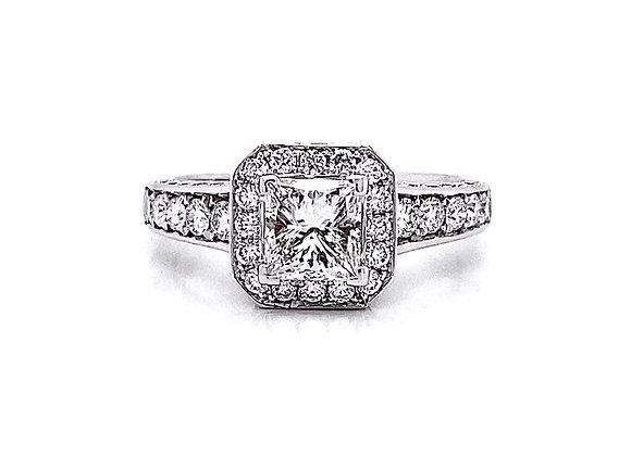 14kt White Gold 1.68ctw Princess Cut & Round Diamond Halo Ring