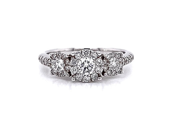 14kt White Gold 0.66ctw Round Diamond Halo Ring