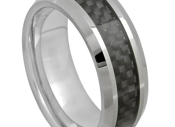 Black & Gray Tungsten Gents Band With Carbon Fiber