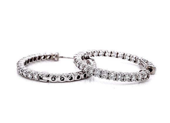 14kt White Gold 1.80ctw Round Diamond Hoop Earrings
