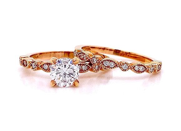 14kt Rose Gold 1.20ctw Round Diamond Wedding Set