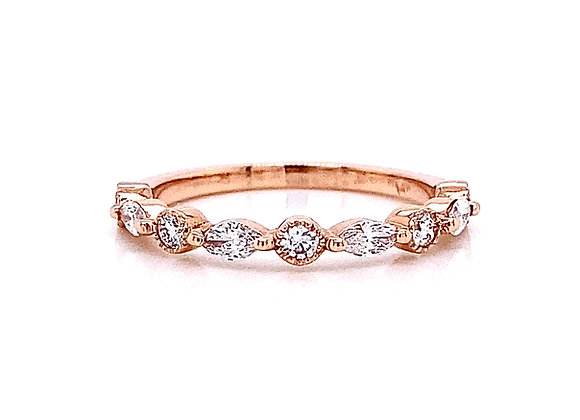 14kt Rose Gold 0.39ctw Round and Marquise Cut Diamond Band