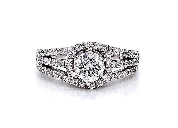 14kt White Gold 1.08ctw Round Diamond Halo Ring