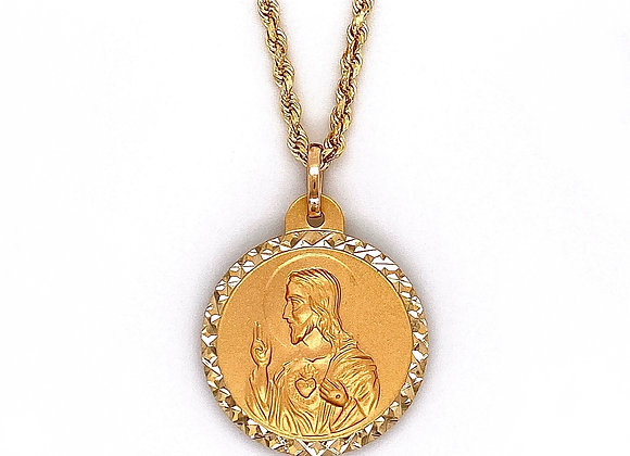 14kt Yellow Gold Jesus & Virgin Mary Double Sided Pendant