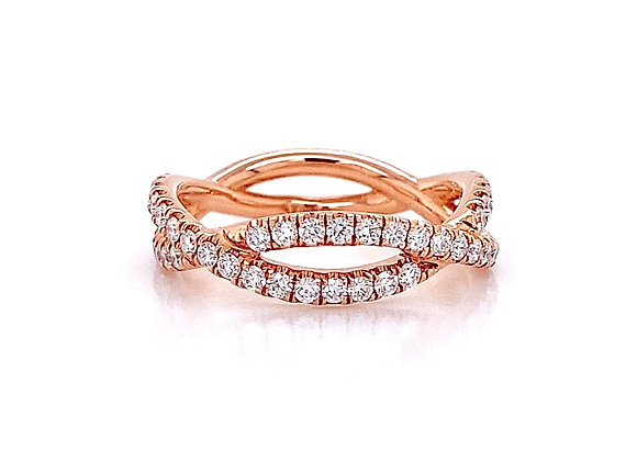 14kt Rose Gold 0.67ctw Round Diamond Swirl Band