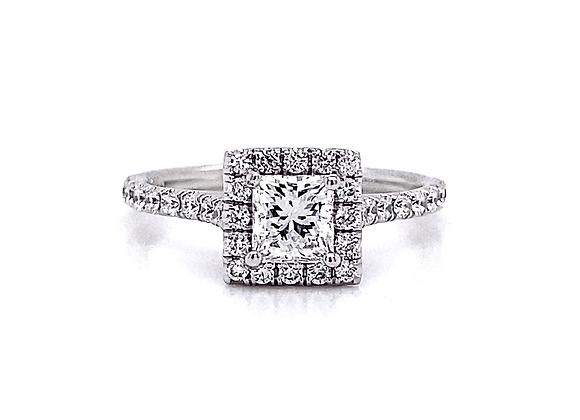 14kt White Gold 0.88ctw Princess Cut & Round Diamond Halo Ring