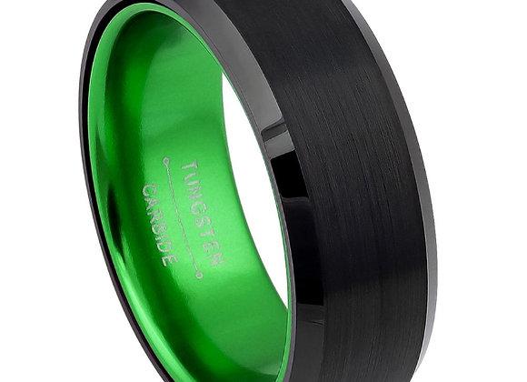 Black Tungsten Green Sleeve Gents Band