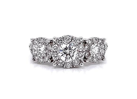 14kt White Gold 1.30ctw Round Diamond Halo Ring
