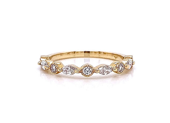 14kt Yellow Gold 0.39ctw Round and Marquise Cut Diamond Band
