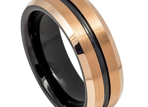 Rose & Black Tungsten Gents Band