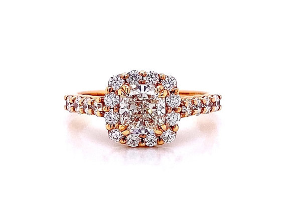 14kt Rose Gold 1.66ctw Cushion Cut Diamond Halo Ring