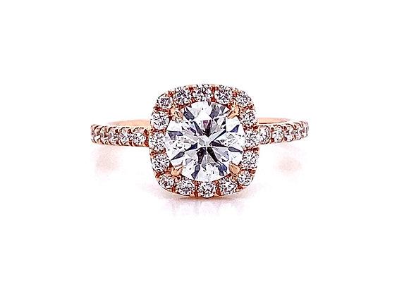 14kt Rose Gold 1.38ctw Round Diamond Halo Ring
