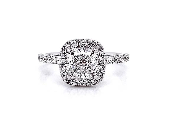 14kt White Gold 1.68ctw Cushion Cut & Round Diamond Halo Ring