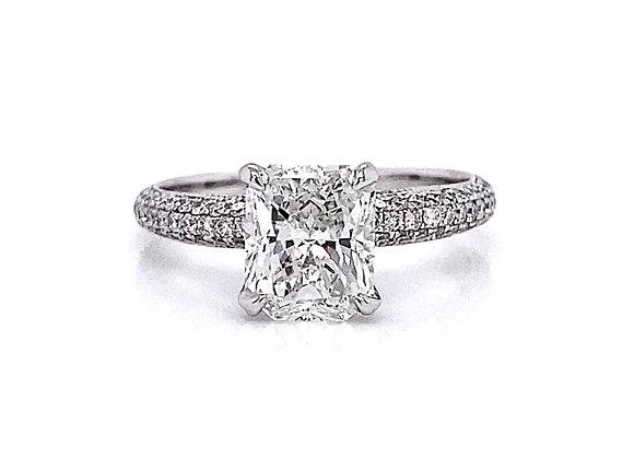 14kt White Gold 1.93ctw Radiant Cut & Round Diamond Side Stone Ring