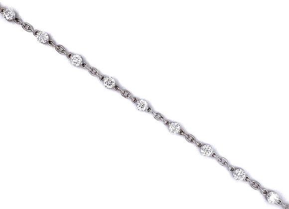 14kt White Gold Ladies 2.04ctw Round Diamond Tennis Link Bracelet