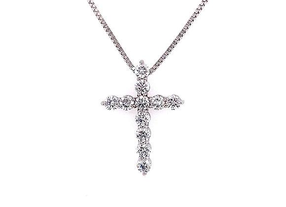 14kt White Gold Ladies Round Diamond Cross Pendant