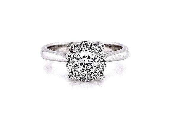 14kt White Gold 0.67ctw Round Diamond Halo Ring