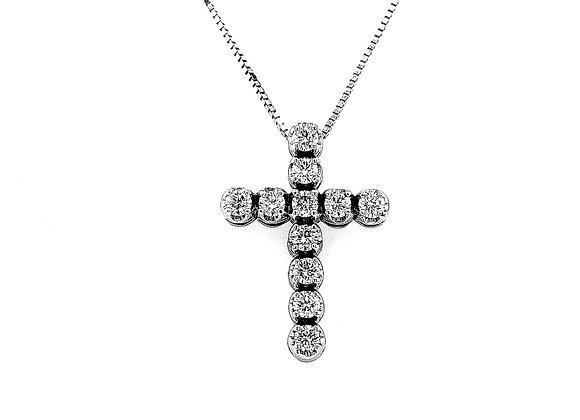 14kt White Gold 0.58ctw Round Diamond Cross Pendant