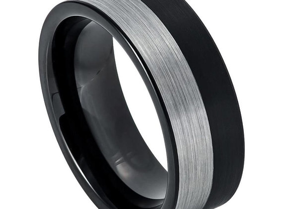 Black & Gray Tungsten Gents Band With Brushed Accents