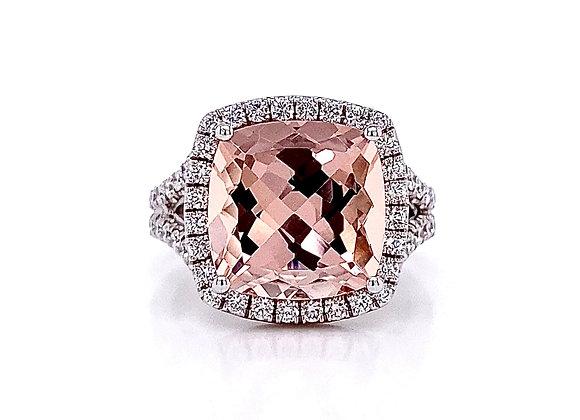 14kt White Gold 6.03ctw Morganite Gemstone and Round Diamond Halo Ring